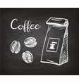 package and coffee beans vector image