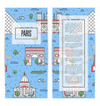 paris traveling flyers set in linear style vector image vector image