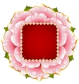 pink rose circle frame with pearl necklace vector image vector image