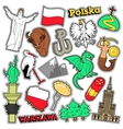 Poland Travel Scrapbook Stickers Patches Badges vector image vector image