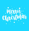 postcard with white lettering merry christmas on vector image vector image