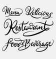 restaurant and menu hand written typography vector image