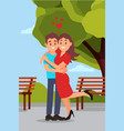 romantic couple hugging in park woman raising leg vector image vector image