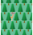 Seamless pattern with forest and deers vector image