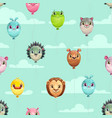 seamless pattern with funny animal balloons on the vector image
