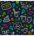 seamless pattern with neon doodles of hearts vector image vector image