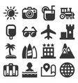 summer icons set on white background vector image