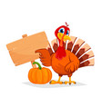 thanksgiving turkey pointing on wooden blank sign vector image vector image