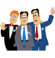 three friends at a wedding vector image vector image