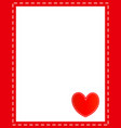 valentine card red frame border with red heart vector image vector image