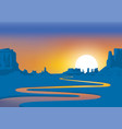 western landscape with desert and river at sunset vector image
