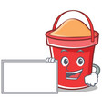 With board bucket character cartoon style vector image