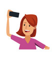 woman making selfie smiling with cellphone vector image