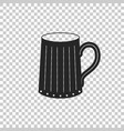 wooden beer mug icon on transparent background vector image vector image