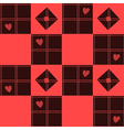 Chessboard Red Heart Valentine Background vector image