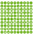 100 interior icons hexagon green vector image vector image