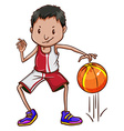 An energetic basketball player vector image vector image