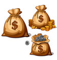 bag with gold and silver coins in cartoon design vector image