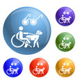 blind man wheelchair dog icons set vector image
