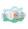 bunny on landscape with easter egg icon vector image