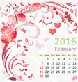 Calendar for 2016 February vector image vector image