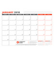 calendar template for 2018 year january business vector image vector image