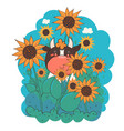 cartoon character a bull in sunflowers vector image
