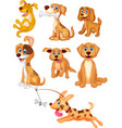 cartoon dogs collection set vector image