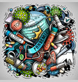 cartoon doodles pandemic vector image