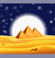 cartoon egyptian pyramids in the desert with star vector image vector image