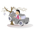 cartoon young woman have got into a road accident vector image vector image