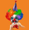 circus clown head colorful background poster vector image vector image