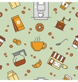 Coffee Time Line Art Thin Seamless Pattern vector image vector image