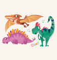 collection of cute dino and pterodactylus set 1 vector image