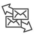correspondence with direction arrows line icon vector image vector image