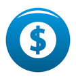 dollar icon blue vector image vector image