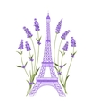 Eiffel tower with lavender flowers vector image vector image