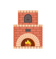 fireplace with fire burning inside isolated icon vector image vector image