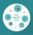 flat icons toolkit hardhat van and other vector image vector image