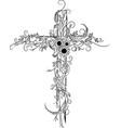 flower tattoo cross decor vector image vector image