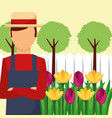 gardener man with hat flowers tree landscape vector image