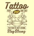 grunge style vintage tattoo is not crime hand vector image vector image
