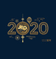 happy 2020 new chinese year papercut with rat vector image vector image