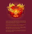 hot bbq grill party leaflet fork paddle spatula vector image