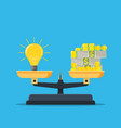 idea and money stack balance on libra vector image
