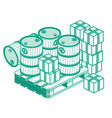 isometric outline oil barrels and boxes on wooden vector image vector image