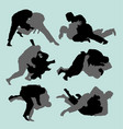 judo fight sport silhouette vector image