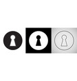 keyhole isolated icons door key hole with light vector image vector image