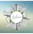 Lisbon City Skyline with Gray Buildings vector image vector image