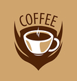 logo coffee cup and shield vector image vector image